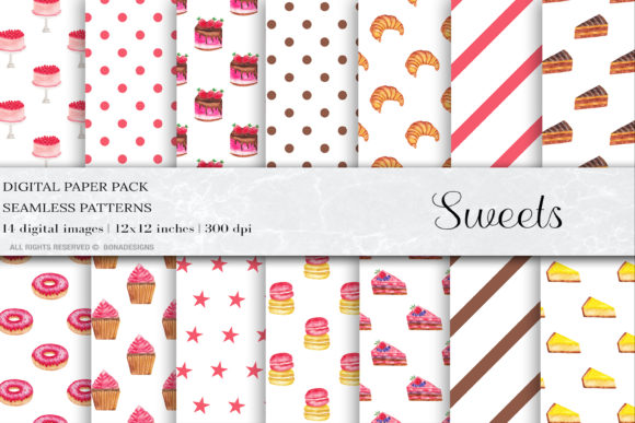 Sweets Digital Paper, Sweets Pattern Graphic Patterns By damlaakderes