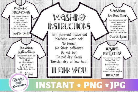 T-Shirt Care Cards - 5 Pack! Graphic Crafts By suzannecornejo