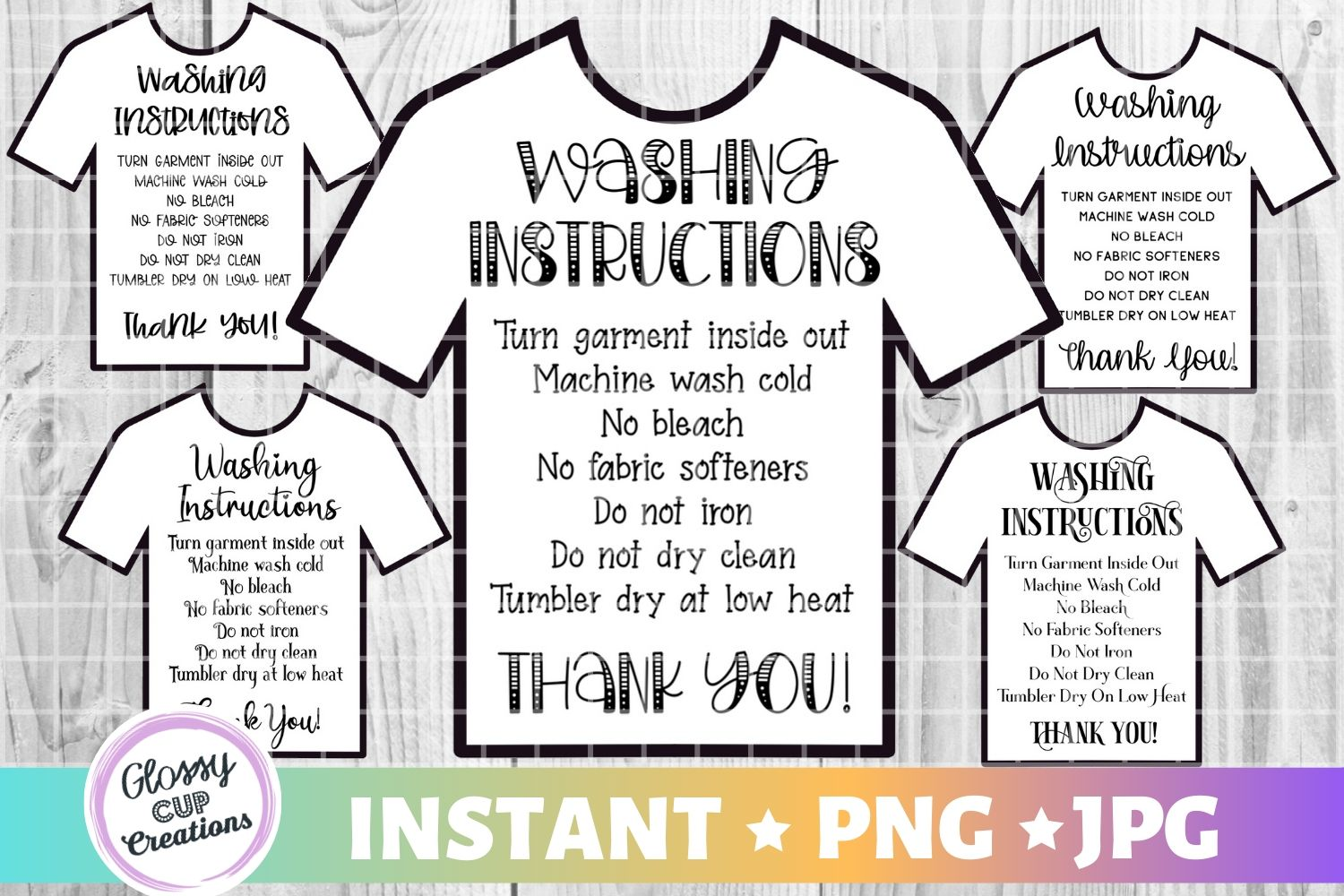T-Shirt Care Cards – 5 Pack! SVG File