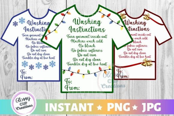 Download Free T Shirt Care Cards Holiday Graphic By Suzannecornejo for Cricut Explore, Silhouette and other cutting machines.