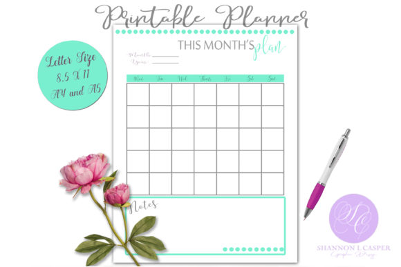 Print on Demand: This Month's Planning Page Printable Graphic Print Templates By Shannon Casper