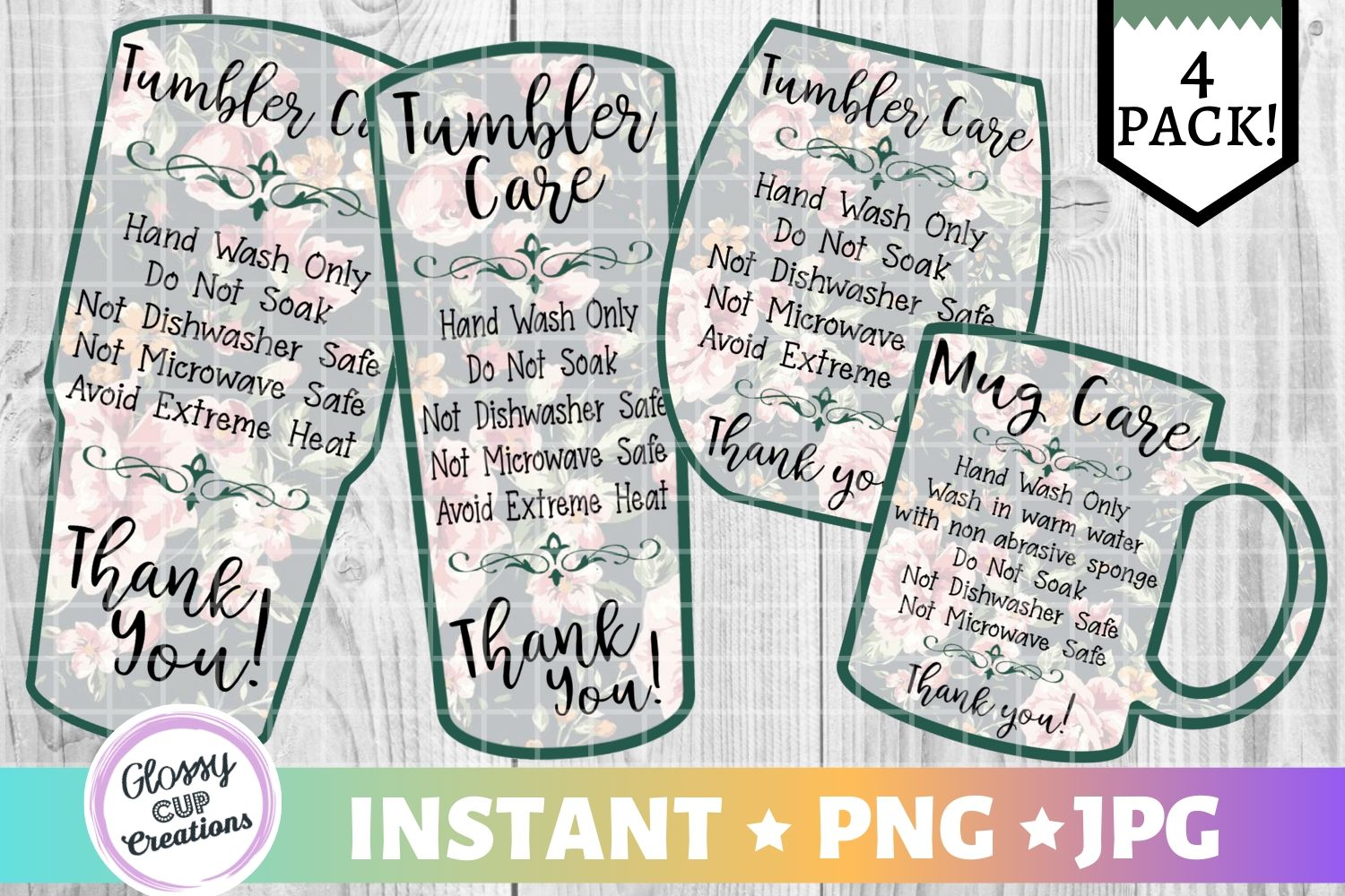 Download Free Tumbler Care Cards Green Floral Graphic By Suzannecornejo for Cricut Explore, Silhouette and other cutting machines.