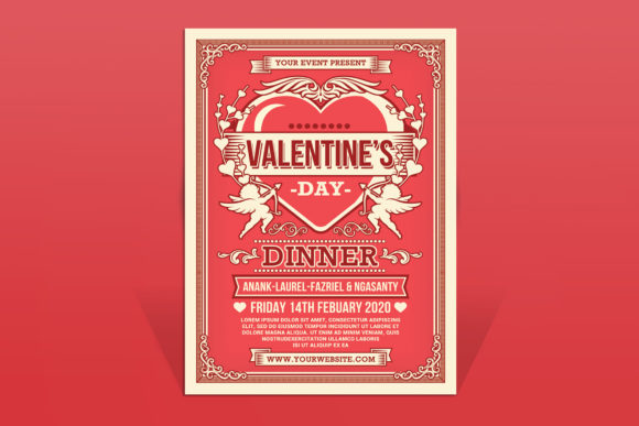 Valentine's Day Dinner Flyer Graphic Print Templates By muhamadiqbalhidayat