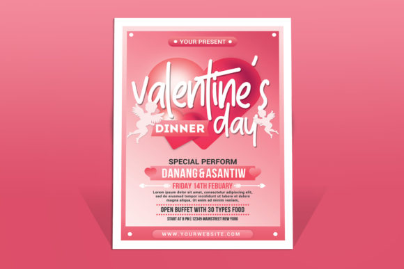 Valentine's Day Dinner Graphic Print Templates By muhamadiqbalhidayat