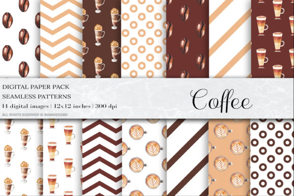 Watercolor Coffee Digital Papers Graphic Patterns By BonaDesigns