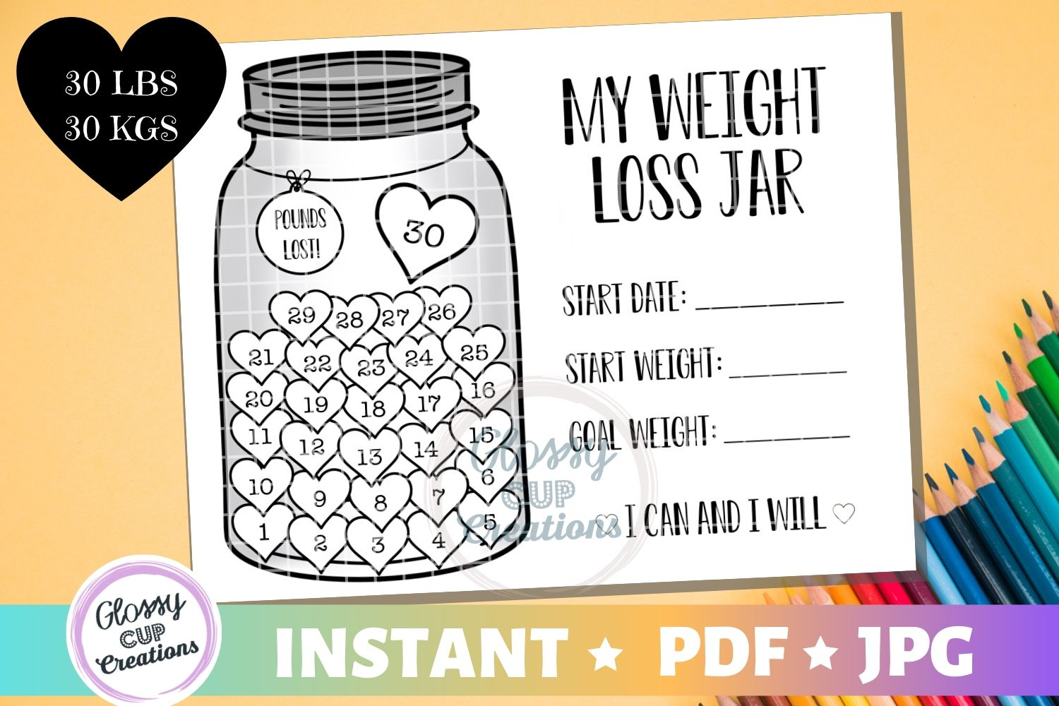 Download Free Weight Loss Jar 30 Lbs Graphic By Suzannecornejo Creative for Cricut Explore, Silhouette and other cutting machines.