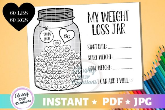 Download Free Weight Loss Jar 60 Lbs Graphic By Suzannecornejo Creative for Cricut Explore, Silhouette and other cutting machines.