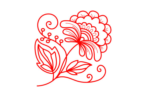 Redwork Flower Primavera Archivo de Corte Craft Por Creative Fabrica Crafts