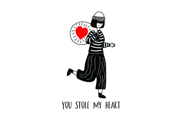 Download Free You Stole My Heart Burglar Woman Svg Cut File By Creative for Cricut Explore, Silhouette and other cutting machines.