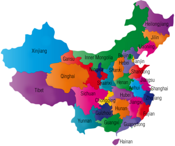 Colourful map of Chinese provinces