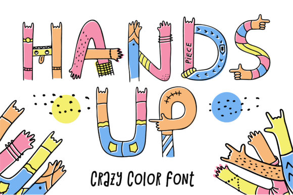 Print on Demand: Hands Up Crazy Color Fonts Font By Peliken - Image 1