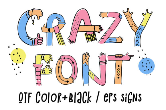 Print on Demand: Hands Up Crazy Color Fonts Font By Peliken - Image 2