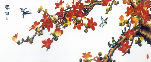colourful embroidery pattern of tree with red and yellow leaves
