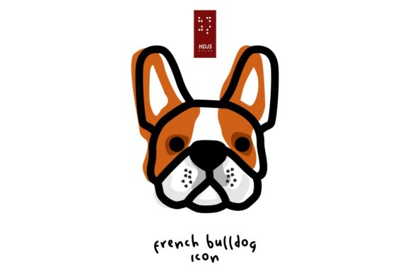 Download Free French Bulldog Head Icon Graphic By Hdjs Design Creative Fabrica for Cricut Explore, Silhouette and other cutting machines.