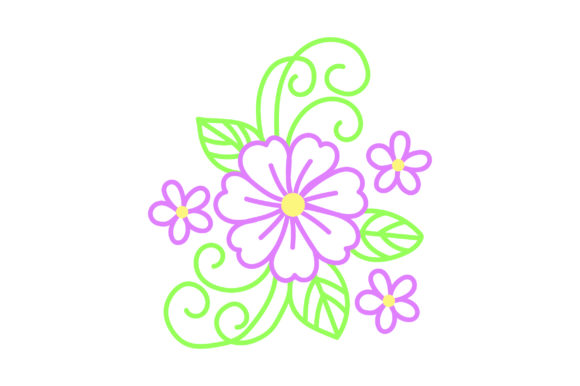 Purple Outline Flower Primavera Archivo de Corte Craft Por Creative Fabrica Crafts