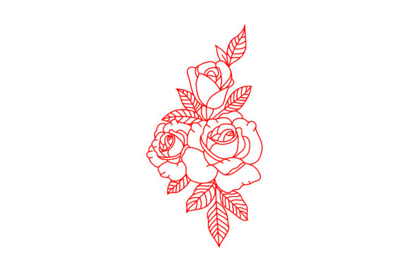 Victorian Valentine Outline - 3 Roses Valentine's Day Craft Cut File By Creative Fabrica Crafts