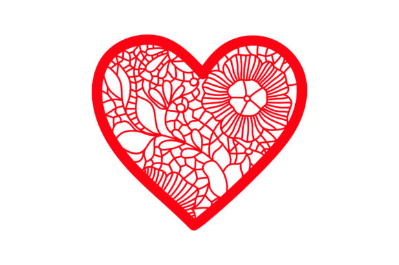 Victorian Valentine Outline - Heart with Lace Details Valentine's Day Craft Cut File By Creative Fabrica Crafts