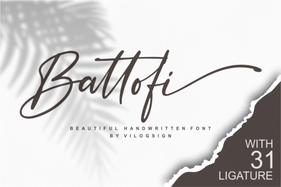 Print on Demand: Battofi Script & Handwritten Font By Vilogsign