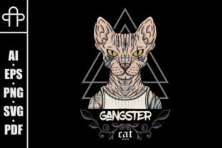 Download Free Sphynx Katzen Tattoo Gangster Grafik Von Andypp Creative Fabrica for Cricut Explore, Silhouette and other cutting machines.