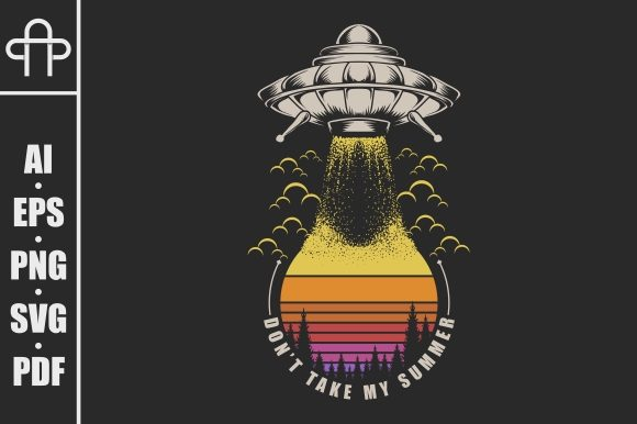 Ufo Sunset Retro Graphic Illustrations By Andypp