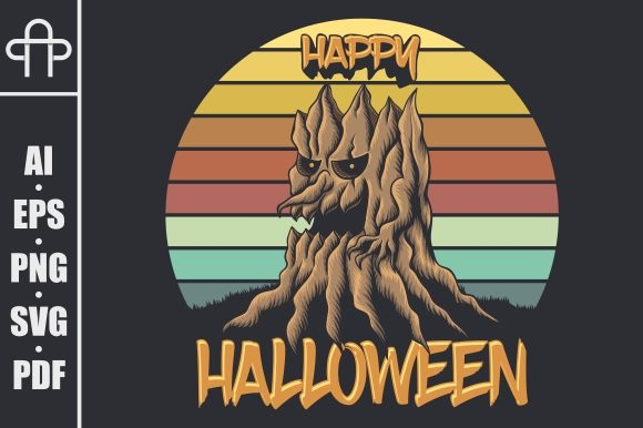 Print on Demand: Wood Tree Sunset Retro Happy Halloween Graphic Illustrations By Andypp