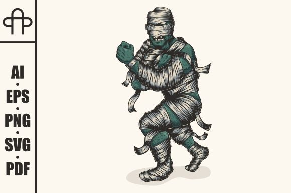 Download Free Zombie Mummy Fighter Graphic By Andypp Creative Fabrica for Cricut Explore, Silhouette and other cutting machines.