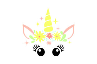 Unicorn Face with Sparkles and Flowers Designs & Drawings Craft Cut File By Creative Fabrica Crafts