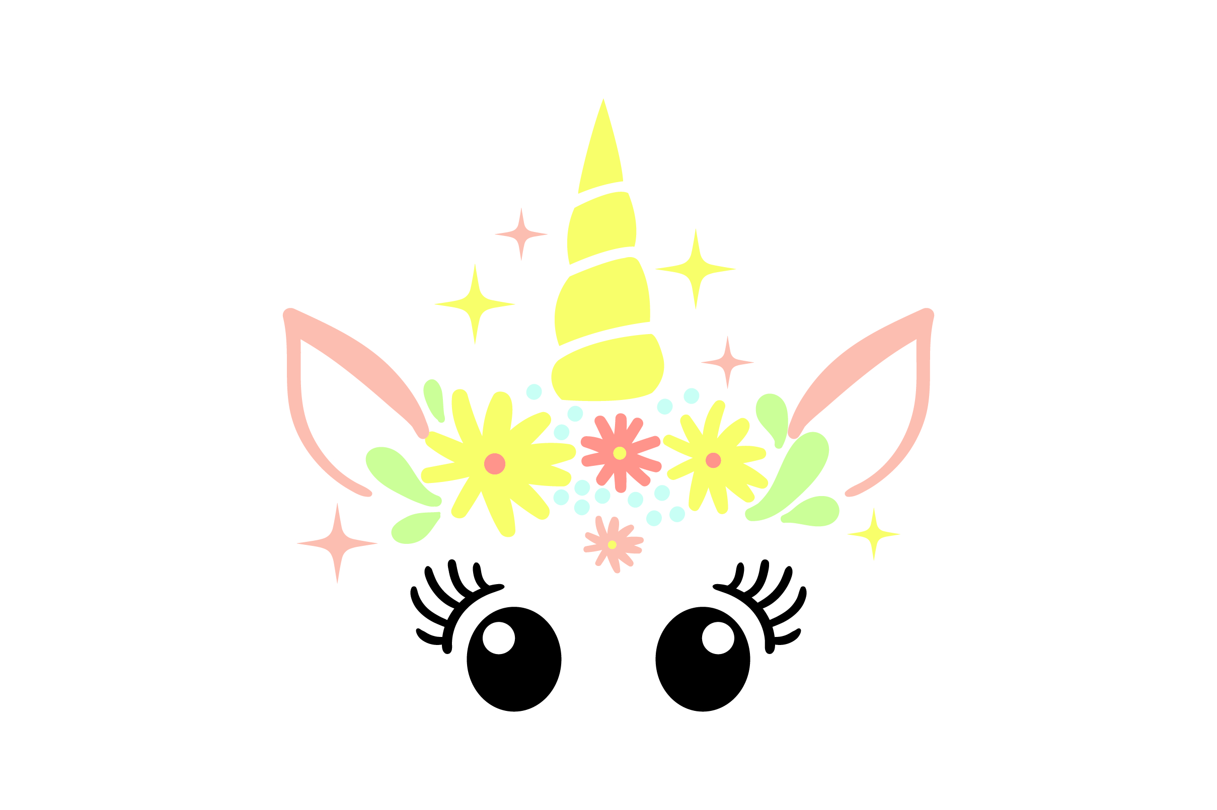 Download Free Unicorn Face With Sparkles And Flowers Svg Cut File By Creative for Cricut Explore, Silhouette and other cutting machines.
