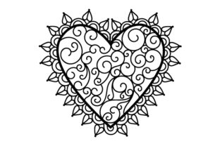 Heart with Black Lace Valentine's Day Craft Cut File By Creative Fabrica Crafts