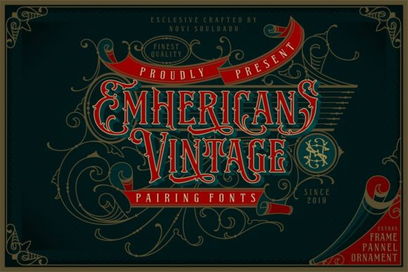 Download Free Emhericans Vintage Font By Novisouldado Creative Fabrica for Cricut Explore, Silhouette and other cutting machines.