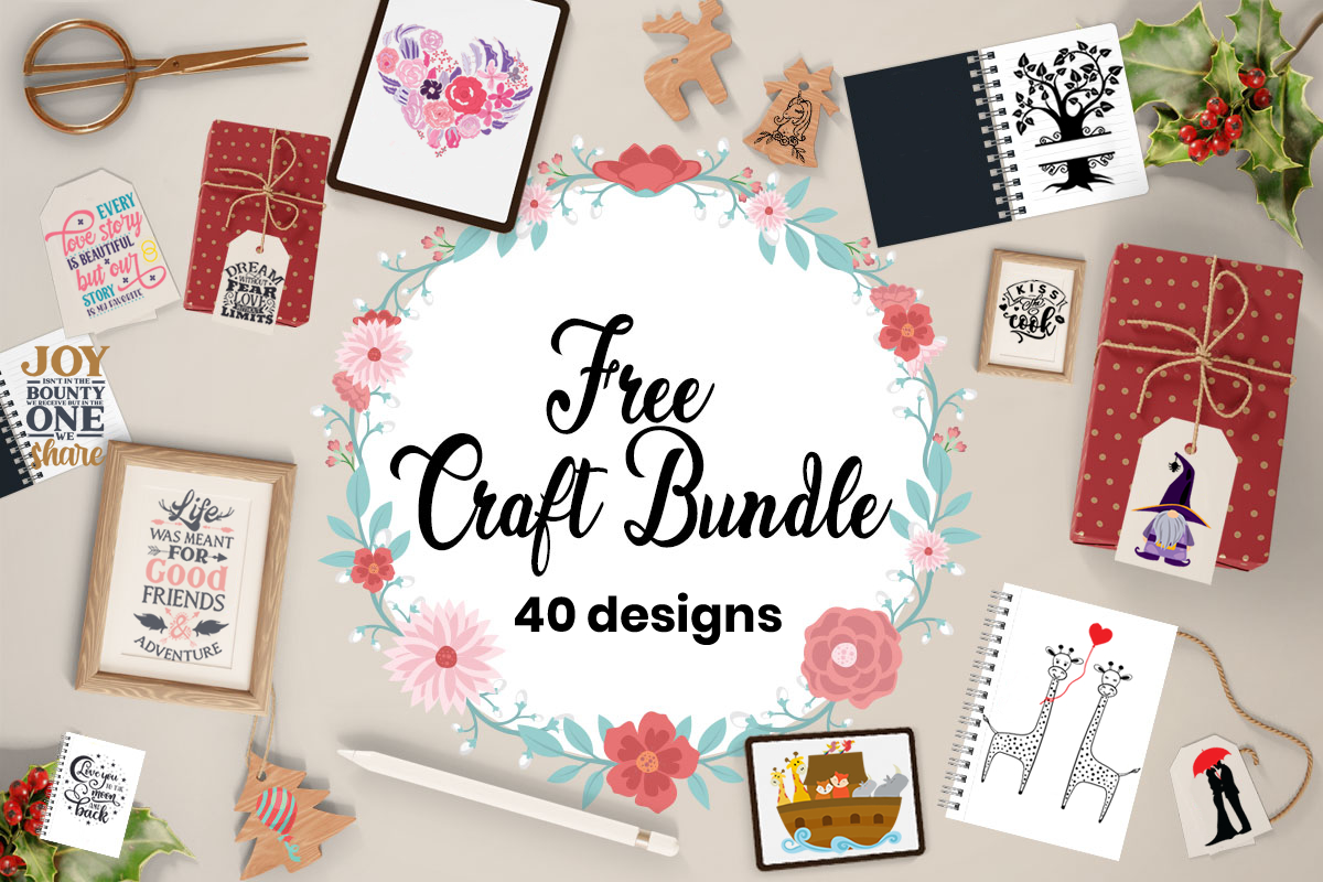 Download Free Free Craft Bundle 40 Unique Designs Bundle Creative Fabrica for Cricut Explore, Silhouette and other cutting machines.