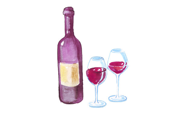 Download Free Wine Bottle With Full Glasses In Watercolor Style Svg Cut File for Cricut Explore, Silhouette and other cutting machines.