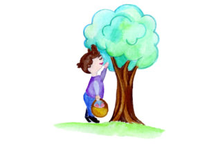 Kid Holding Easter Basket Looking in Tree Easter Craft Cut File By Creative Fabrica Crafts