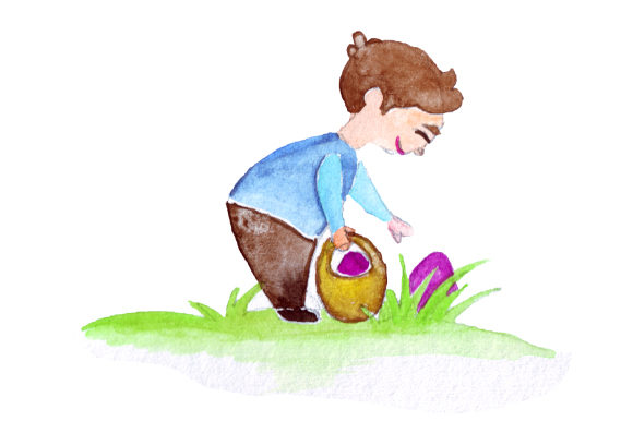 Kid Holding Easter Basket Looking in Grass Easter Craft Cut File By Creative Fabrica Crafts