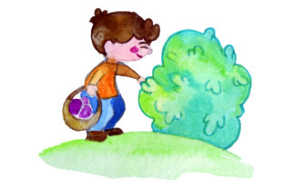 Kid Holding Easter Basket Looking in Bush Easter Craft Cut File By Creative Fabrica Crafts