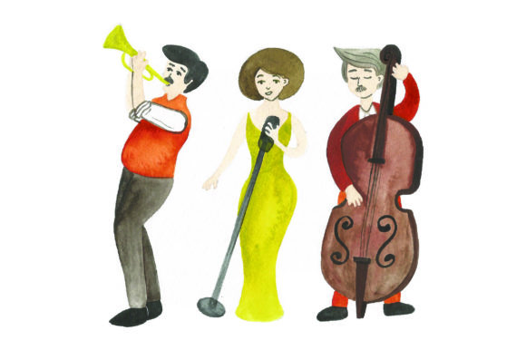 Jazz Band Watercolor Music Craft Cut File By Creative Fabrica Crafts
