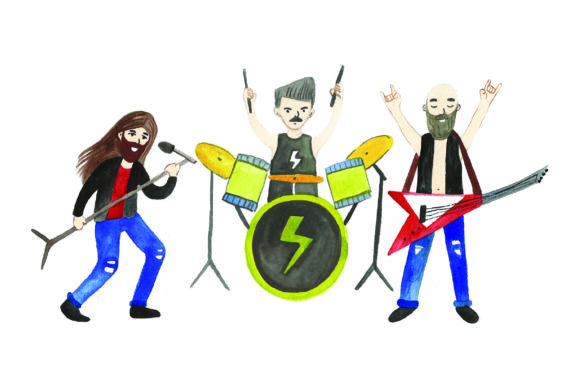 Rock Band - Watercolor Music Craft Cut File By Creative Fabrica Crafts
