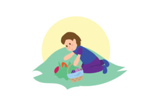 Kid Holding Easter Basket Hunting for Eggs in Grass Easter Craft Cut File By Creative Fabrica Crafts