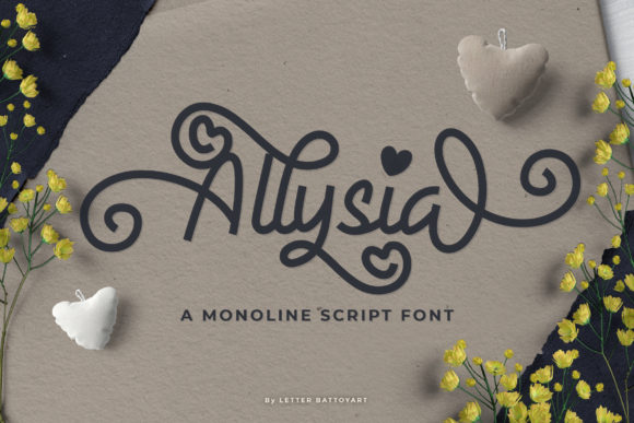 Print on Demand: Allysia Script & Handwritten Font By letter battoyart - Image 1