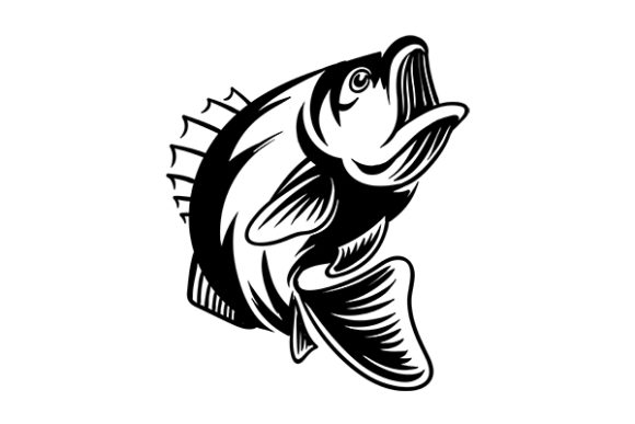 Download Free Bass Fish Vintage Silhouette Vector Graphic By Grappix Studio for Cricut Explore, Silhouette and other cutting machines.