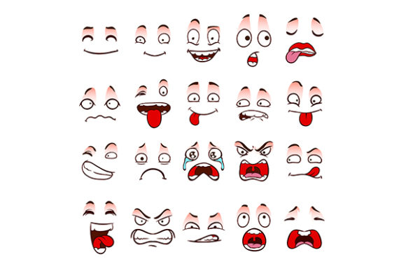 Cartoon Face Expression Set Graphic Illustrations By GRAPPIX studio