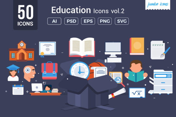 Print on Demand: Education Vector Icons Graphic Icons By jumboicons