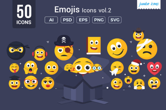Print on Demand: Emojis - Smiley Vector Icons Grafik Icons von jumboicons