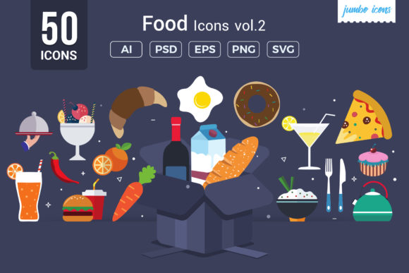 Print on Demand: Foods Vector Icons Graphic Icons By jumboicons - Image 1