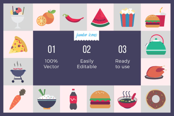 Print on Demand: Foods Vector Icons Graphic Icons By jumboicons - Image 2