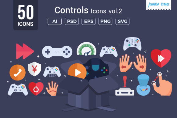 Print on Demand: Gaming - Controls Vector Icons Grafik Icons von jumboicons