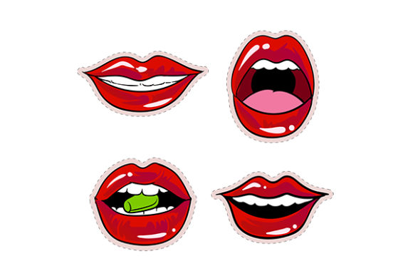 Download Free Hot Red Lips Sexy And Sensual Sticker Graphic By Grappix Studio for Cricut Explore, Silhouette and other cutting machines.