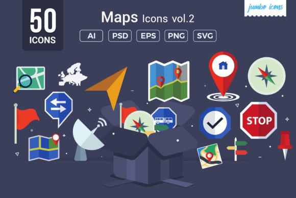 Print on Demand: Maps/ Navigation Vector Icons Graphic Icons By jumboicons