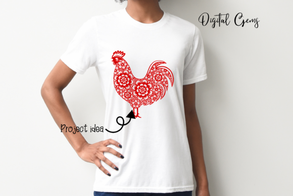Rooster, Chinese New Year Design Graphic Crafts By Digital Gems - Image 4