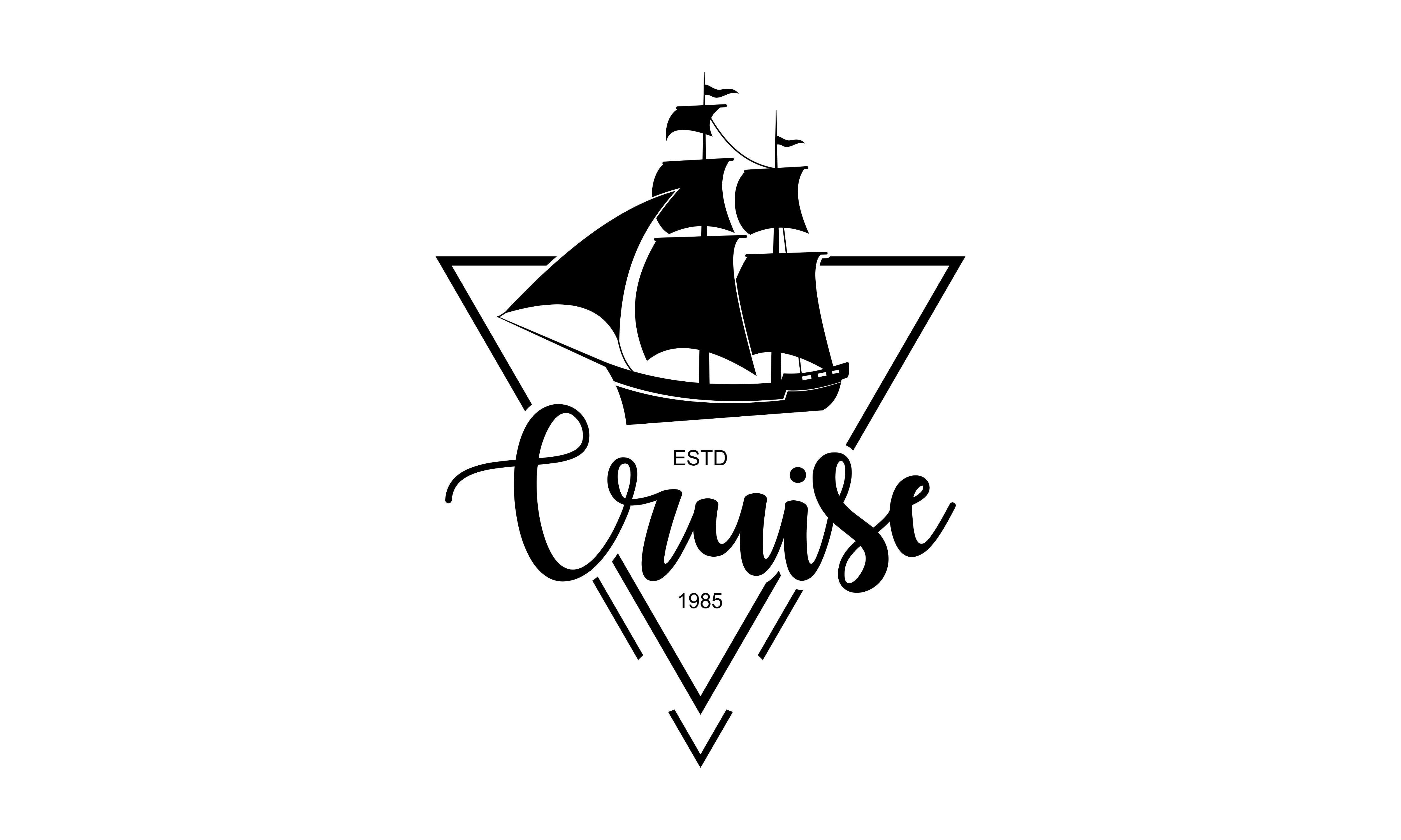 Download Free Sailing Cruise Ship Sailing Boat Logo Graphic By Deemka for Cricut Explore, Silhouette and other cutting machines.